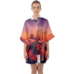 Italy Sunrise Sky Clouds Beautiful Quarter Sleeve Kimono Robe