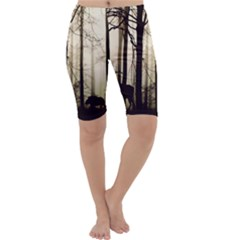 Forest Fog Hirsch Wild Boars Cropped Leggings