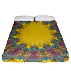 Star Quilt Pattern Squares Fitted Sheet (queen Size)