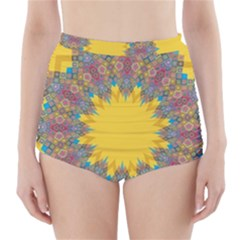 Star Quilt Pattern Squares High Waisted Bikini Bottoms