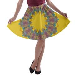 Star Quilt Pattern Squares A Line Skater Skirt