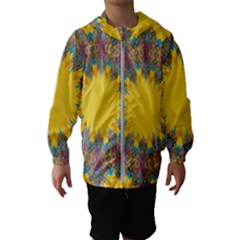 Star Quilt Pattern Squares Hooded Wind Breaker (kids)