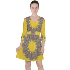 Star Quilt Pattern Squares Ruffle Dress