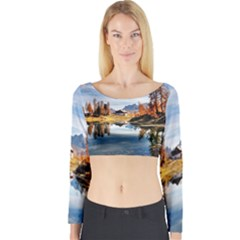 Dolomites Mountains Italy Alpine Long Sleeve Crop Top