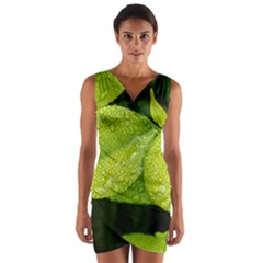 Leaf Green Foliage Green Leaves Wrap Front Bodycon Dress