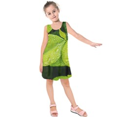 Leaf Green Foliage Green Leaves Kids  Sleeveless Dress
