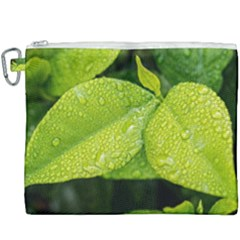 Leaf Green Foliage Green Leaves Canvas Cosmetic Bag (xxxl)