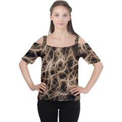 Structure Background Pattern Cutout Shoulder Tee