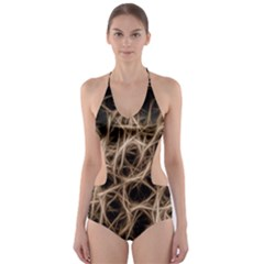 Structure Background Pattern Cut Out One Piece Swimsuit