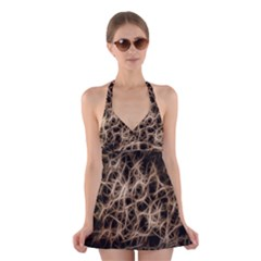 Structure Background Pattern Halter Dress Swimsuit