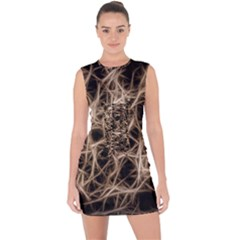 Structure Background Pattern Lace Up Front Bodycon Dress