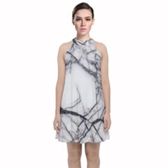 Marble Tiles Rock Stone Statues Velvet Halter Neckline Dress  by Simbadda
