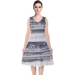 Marble Tiles Rock Stone Statues Pattern Texture V Neck Midi Sleeveless Dress