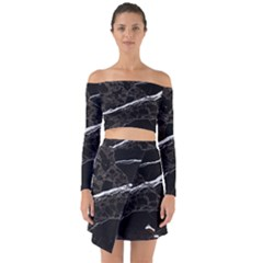 Marble Tiles Rock Stone Statues Off Shoulder Top With Skirt Set