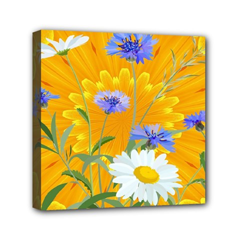 Flowers Daisy Floral Yellow Blue Canvas Travel Bag