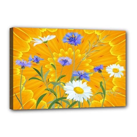 Flowers Daisy Floral Yellow Blue Canvas 18  X 12