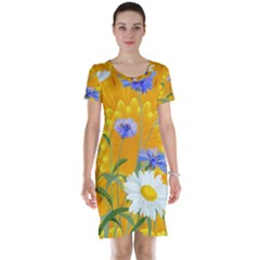 Flowers Daisy Floral Yellow Blue Short Sleeve Nightdress