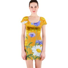 Flowers Daisy Floral Yellow Blue Short Sleeve Bodycon Dress