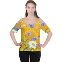 Flowers Daisy Floral Yellow Blue Cutout Shoulder Tee