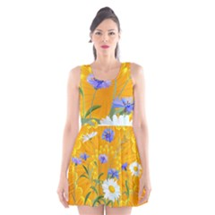 Flowers Daisy Floral Yellow Blue Scoop Neck Skater Dress