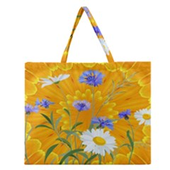 Flowers Daisy Floral Yellow Blue Zipper Large Tote Bag