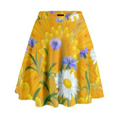 Flowers Daisy Floral Yellow Blue High Waist Skirt by Simbadda