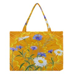 Flowers Daisy Floral Yellow Blue Medium Tote Bag