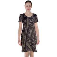 Abstract Pattern Graphics Short Sleeve Nightdress