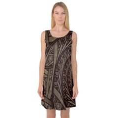 Abstract Pattern Graphics Sleeveless Satin Nightdress
