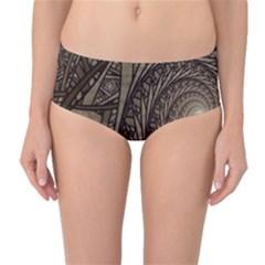 Abstract Pattern Graphics Mid Waist Bikini Bottoms