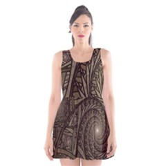 Abstract Pattern Graphics Scoop Neck Skater Dress