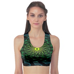Abstract Ribbon Green Blue Hues Sports Bra