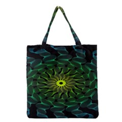 Abstract Ribbon Green Blue Hues Grocery Tote Bag