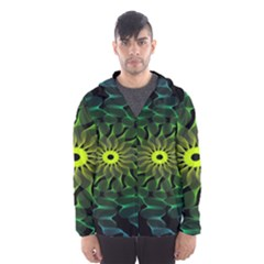 Abstract Ribbon Green Blue Hues Hooded Wind Breaker (men)