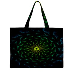 Abstract Ribbon Green Blue Hues Zipper Mini Tote Bag
