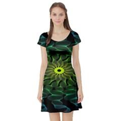 Abstract Ribbon Green Blue Hues Short Sleeve Skater Dress