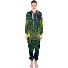 Abstract Ribbon Green Blue Hues Hooded Jumpsuit (ladies)