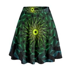Abstract Ribbon Green Blue Hues High Waist Skirt