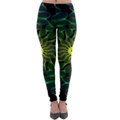 Abstract Ribbon Green Blue Hues Lightweight Velour Leggings