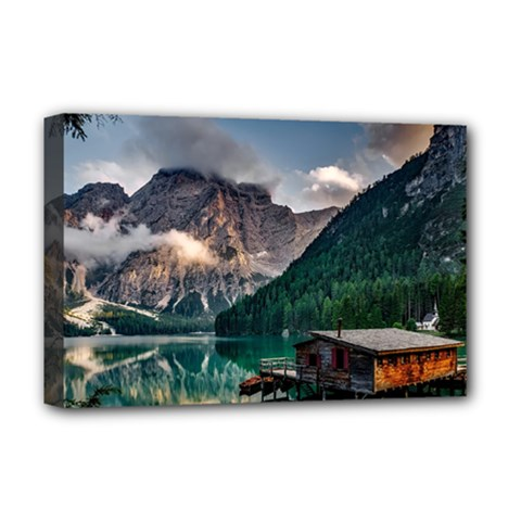 Italy Mountains Pragser Wildsee Deluxe Canvas 18  X 12