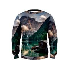Italy Mountains Pragser Wildsee Kids  Sweatshirt
