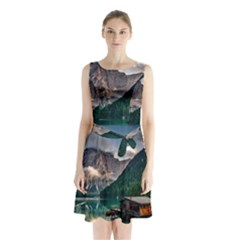 Italy Mountains Pragser Wildsee Sleeveless Waist Tie Chiffon Dress