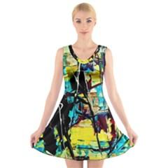 Dance Of Oil Towers 3 V Neck Sleeveless Dress