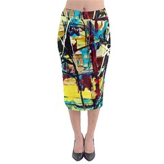 Dance Of Oil Towers 4 Midi Pencil Skirt
