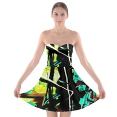 Dance Of Oil Towers 5 Strapless Bra Top Dress