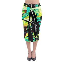 Dance Of Oil Towers 5 Midi Pencil Skirt