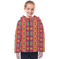 Tribal Shapes In Retro Colors                                Kids  Hooded Puffer Jacket