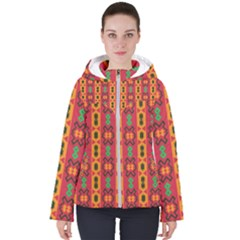Tribal Shapes In Retro Colors                                Women s Hooded Puffer Jacket