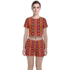 Tribal Shapes In Retro Colors                           Crop Top And Shorts Co Ord Set