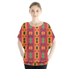 Tribal Shapes In Retro Colors                                  Batwing Chiffon Blouse